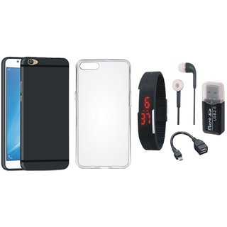Moto E4 Silicon Anti Slip Back Cover with Memory Card Reader, Silicon Back Cover, Digital Watch, Earphones and OTG Cable