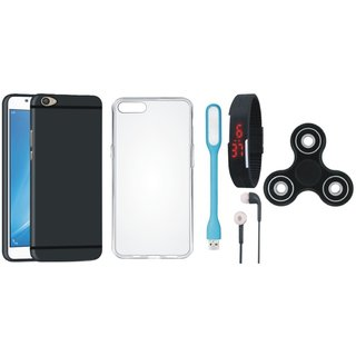 Moto E4 Soft Silicon Slim Fit Back Cover with Spinner, Silicon Back Cover, Digital Watch, Earphones and USB LED Light