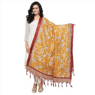 Meia Sarees Printed Khadi Silk With Tessels Yellow Coloured Casual Wear Women's Dupatta.
