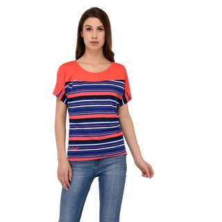 Grand Derby Multi Color Round Neck Cotton Striper Top