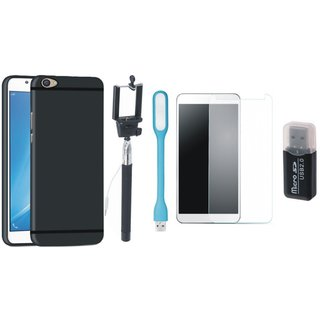 Motorola Moto E4 Plus Silicon Slim Fit Back Cover with Memory Card Reader, Free Selfie Stick, Tempered Glass, and LED Light