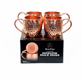 MUNSHI SAINT Moscow Mule Copper Mugs - 100 Pure Solid Copper With 16 oz Capacity - You Deserve The Finest Bar Quality