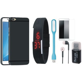 Samsung J5 Prime Silicon Slim Fit Back Cover with Memory Card Reader, Free Digital LED Watch, Tempered Glass, LED Light and Earphones