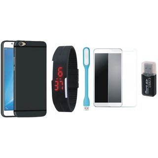Oppo F7 Soft Silicon Slim Fit Back Cover with Memory Card Reader, Free Digital LED Watch, Tempered Glass and LED Light