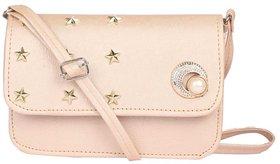 Envie Faux Leather Cream Embellished Magnetic Snap Sling Bag