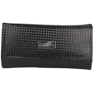 Faux Leather Black Magnetic Snap Croc Pattern Clutch