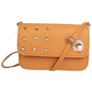 Envie Faux Leather Brown Coloured Embellished Magnetic Snap Sling Bag