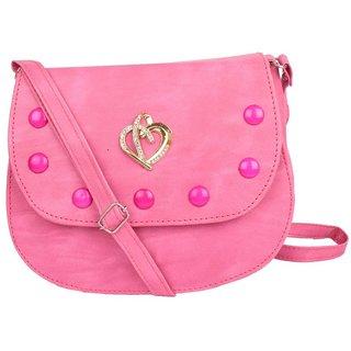 b1cebe65029c Buy Envie Faux Leather Pink Embellished Magnetic Snap Sling Bag ...