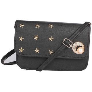 Envie Faux Leather Black Embellished Magnetic Snap Crossbody Bag