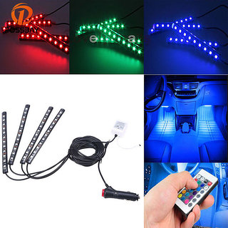 Autosky 4pcs 12 LED Multi-color Remote Control Car LED Interior Atmosphere Car Lights