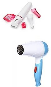 Combo of Sensitive Touch Underarms Eyebrows Hair Remover Trimmer and 1000w Hair Dryer