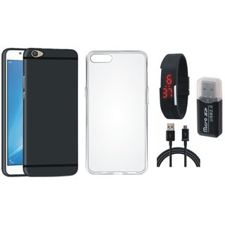 Oppo F7 Premium Quality Cover with Memory Card Reader, Silicon Back Cover, Digital Watch and USB Cable
