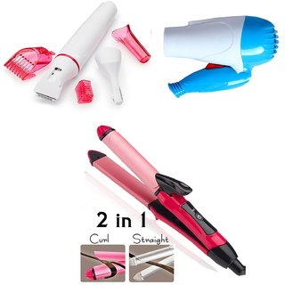 Combo of 2 in 1 hair Straightener Hair Curler 2009 ,1000W Hair Dryer and Sensitive Touch Underarms Eyebrows Hair Remover Trimmer