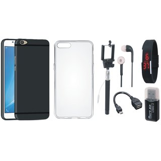 Oppo F7 Stylish Back Cover with Memory Card Reader, Silicon Back Cover, Selfie Stick, Digtal Watch, Earphones and OTG Cable