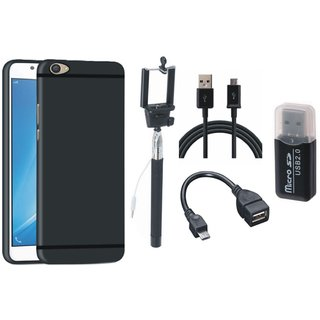 Oppo F7 Silicon Anti Slip Back Cover with Memory Card Reader, Selfie Stick, OTG Cable and USB Cable