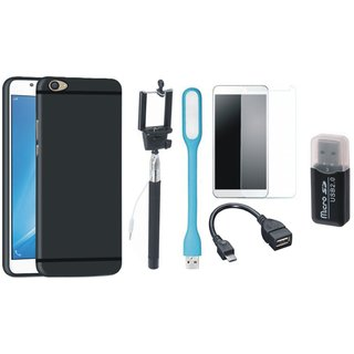 Samsung J7 Prime SM-G610F Plus Silicon Slim Fit Back Cover with Memory Card Reader, Free Selfie Stick, Tempered Glass, LED Light and OTG Cable