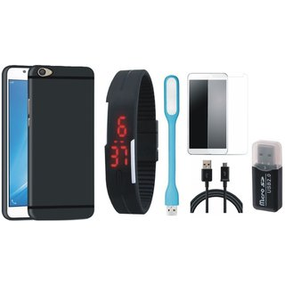 Samsung J5 Prime Cover with Memory Card Reader, Free Digital LED Watch, Tempered Glass, LED Light and USB Cable