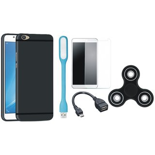 Samsung J5 Prime Soft Silicon Slim Fit Back Cover with Spinner, Tempered Glass, USB LED Light and OTG Cable