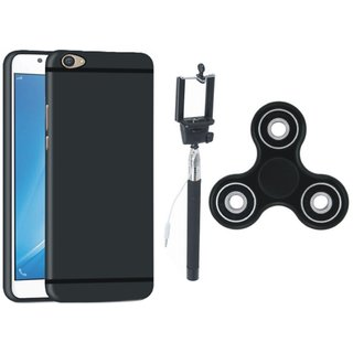 Samsung J5 Prime Soft Silicon Slim Fit Back Cover with Spinner, Free Silicon Back Cover and Selfie Stick