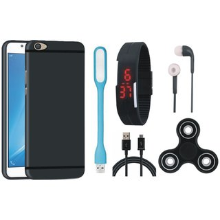 Samsung J5 Prime Soft Silicon Slim Fit Back Cover with Spinner, Digital Watch, Earphones, USB LED Light and USB Cable