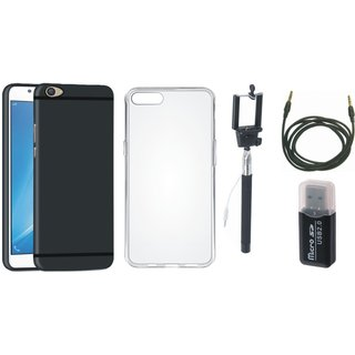 Oppo F1s Soft Silicon Slim Fit Back Cover with Memory Card Reader, Silicon Back Cover, Selfie Stick and AUX Cable