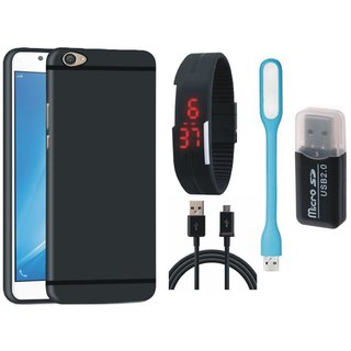 Samsung On7 Prime Soft Silicon Slim Fit Back Cover with Memory Card Reader, Digital Watch, USB LED Light and USB Cable