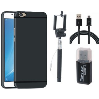 Samsung J7 Prime Silicon Anti Slip Back Cover with Memory Card Reader, Selfie Stick and USB Cable
