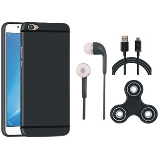 Samsung J7 Prime Silicon Slim Fit Back Cover with Spinner, Earphones and USB Cable