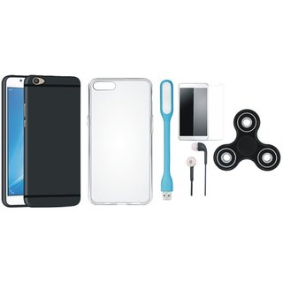 Samsung J5 Prime Premium Back Cover with Spinner, Silicon Back Cover, Tempered Glass, Earphones and USB LED Light