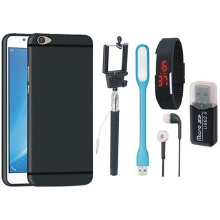 Redmi 5A Silicon Anti Slip Back Cover with Memory Card Reader, Selfie Stick, Digtal Watch, Earphones and USB LED Light