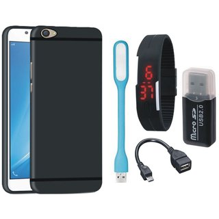 Samsung J7 Prime SM G610F Stylish Back Cover with Memory Card Reader, Digital Watch, OTG Cable and USB LED Light