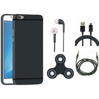 Samsung J7 Prime SM G610F Silicon Slim Fit Back Cover with Spinner, Earphones, USB Cable and AUX Cable
