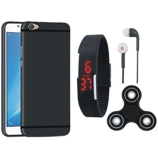 Oppo F7 Soft Silicon Slim Fit Back Cover with Spinner, Digital Watch and Earphones