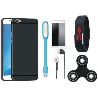 Samsung J7 Prime SM G610F Silicon Slim Fit Back Cover with Free Spinner, Digital LED Watch, Tempered Glass, LED Light and Earphones