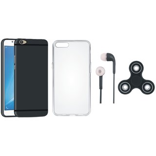 Oppo F7 Soft Silicon Slim Fit Back Cover with Spinner, Silicon Back Cover and Earphones