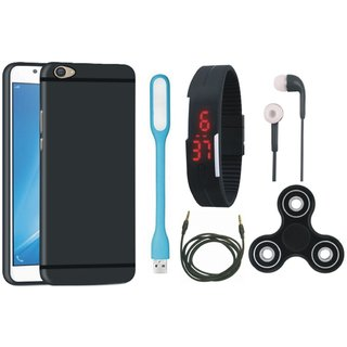 Oppo F7 Soft Silicon Slim Fit Back Cover with Spinner, Digital Watch, Earphones, USB LED Light and AUX Cable