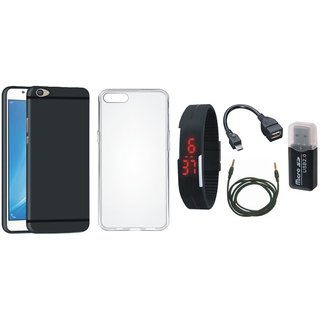 Vivo V5 Soft Silicon Slim Fit Back Cover with Memory Card Reader, Silicon Back Cover, Digital Watch, OTG Cable and AUX Cable