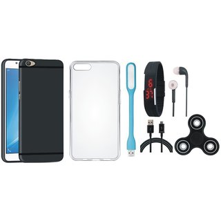 Oppo F7 Soft Silicon Slim Fit Back Cover with Spinner, Silicon Back Cover, Digital Watch, Earphones, USB LED Light and USB Cable