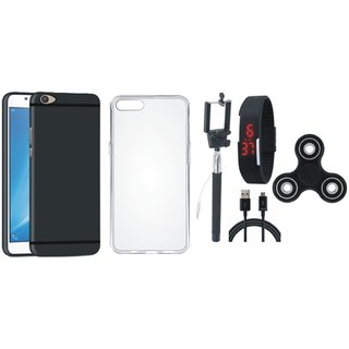 Oppo F7 Soft Silicon Slim Fit Back Cover with Spinner, Silicon Back Cover, Selfie Stick, Digtal Watch and USB Cable