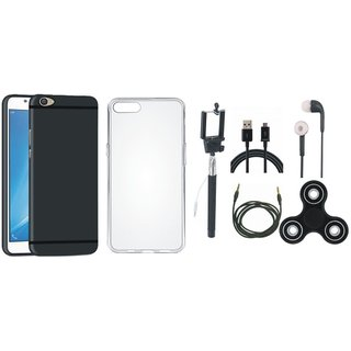 Oppo F7 Soft Silicon Slim Fit Back Cover with Spinner, Silicon Back Cover, Selfie Stick, Earphones, USB Cable and AUX Cable