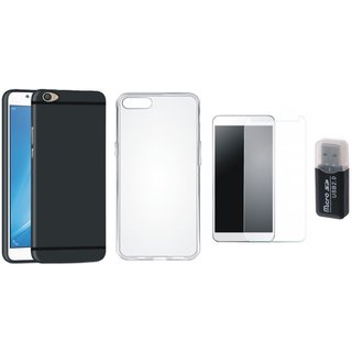 Vivo V5 Silicon Slim Fit Back Cover with Memory Card Reader, Silicon Back Cover, Tempered Glass