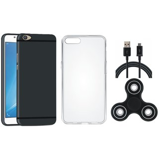 Oppo F7 Silicon Slim Fit Back Cover with Spinner, Silicon Back Cover, USB Cable