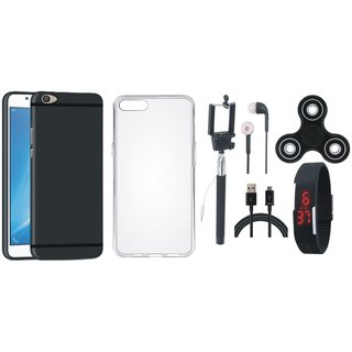 Oppo F7 Silicon Slim Fit Back Cover with Spinner, Silicon Back Cover, Selfie Stick, Digtal Watch, Earphones and USB Cable