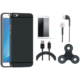 Oppo A71 Soft Silicon Slim Fit Back Cover with Spinner, Tempered Glass, Earphones and USB Cable