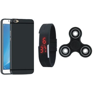 Oppo A71 Silicon Slim Fit Back Cover with Spinner, Digital Watch