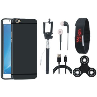 Oppo F7 Silicon Anti Slip Back Cover with Spinner, Selfie Stick, Digtal Watch, Earphones and USB Cable