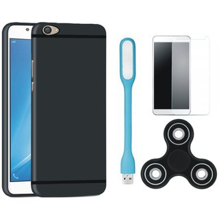 Samsung On7 Prime Soft Silicon Slim Fit Back Cover with Spinner, Tempered Glas and USB LED Light