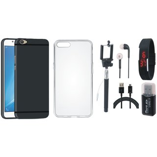 Vivo V5 Stylish Back Cover with Memory Card Reader, Silicon Back Cover, Selfie Stick, Digtal Watch, Earphones and USB Cable
