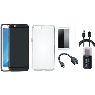 Vivo V5 Silicon Anti Slip Back Cover with Memory Card Reader, Silicon Back Cover, Tempered Glass, OTG Cable and USB Cable