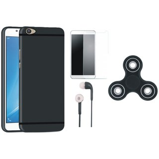Vivo V5 Soft Silicon Slim Fit Back Cover with Spinner, Earphones and Tempered Glass